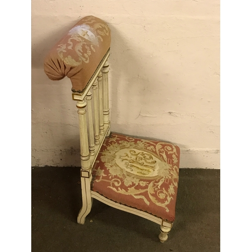 3 - Painted And Upholstered Prayer Chair  Prie dieu...