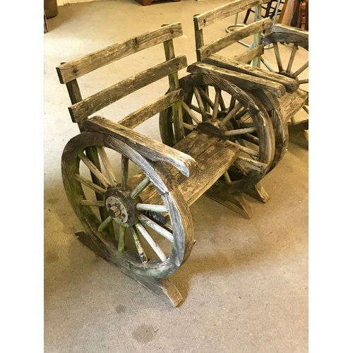 7 - Pair Of Wood  Wagon Wheel Style Garden Chairs...