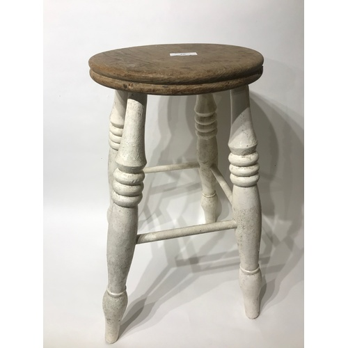 20 - Painted Vintage Wood Stool 52 cms High...