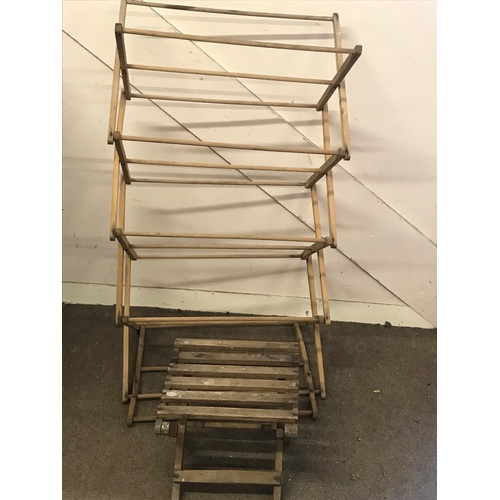 21 - Vintage Wood Airer Along With A Vintage Wood Folding Stand...