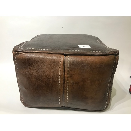 22 - Vintage Leather Pouffe Foot Stool 40 x 40 x 38 cms...