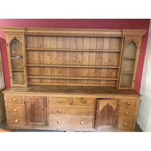 30 - Xtra Large Vintage Pine Dresser 367 cms Long x 216 cms High x 50 cms Deep...