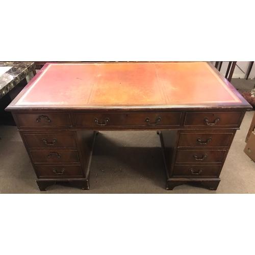 53 - Leather Top Pedastal desk 153 x 92 x 79 cms...