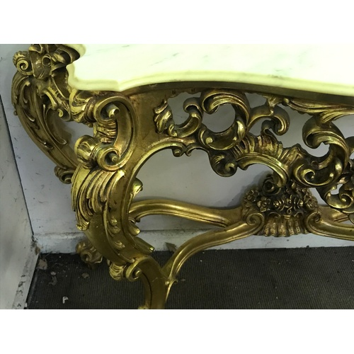 56 - Rococo Style Gilt wood Console Table 159 x 51 x 91 cms...