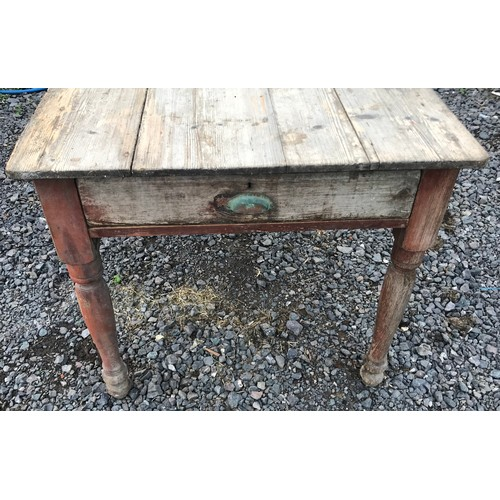 34 - Vintage Pine Farmhouse Table With End Drawers . 122 x 85 x 75 cms...