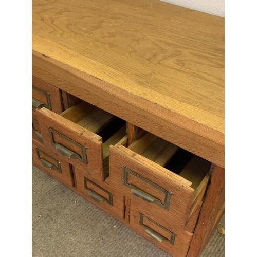 2 - Bank Of 18 Vintage Index Filing Cabinet. 99 x 39 x 40 cms