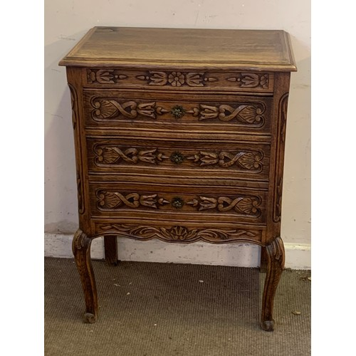 3 - French Carved Wood Decorated  Three Drawer Chest 61 x 39 x 84 cms