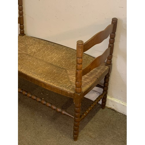 5 - French Louis Style Settee With Rush Seat.
