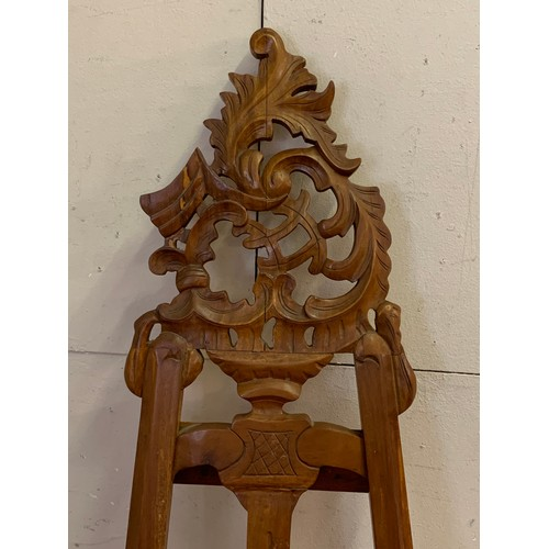 6 - Decoratively Carved Wood Easel . 170 cms High