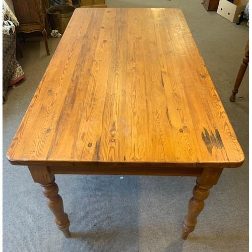 12 - Large Pine Farmhouse Table. 183 x 91 x 78 cms