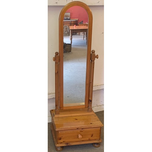 20 - Cheval Mirror With Drawer Overall Height 168 cms High
