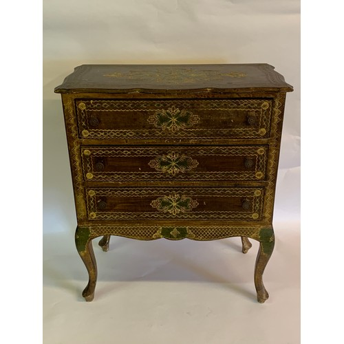 30 - Florentine Gilt And Green Chest Of Three Drawers.61 x 32 x 70 cms