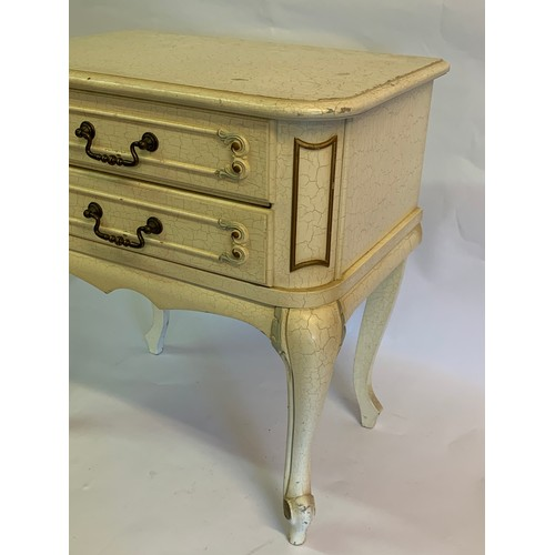 33 - French Painted Two Drawer Bedside Cabinet.