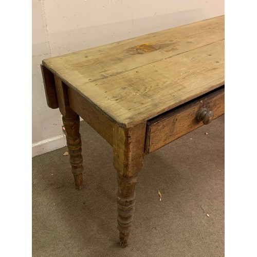44 - Vintage Two Drawer  Farmhouse Table With Drop Leaf 135 x 58 (77 cms With Leaf Up ) 78 cms