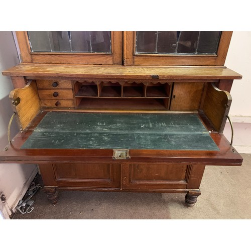 47 - Vintage Secratere Bookcase With Lead Glass Panels. 122 x 56 x 216 cms