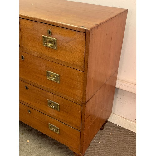 48 - Two Piece Campaign Chest Of Drawers  89 x 49 x 102 cms