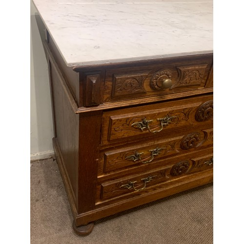 52 - Antique French Two Over Three Marble Top Chest Of Drawers With Carved Wood Decoration . 100 x 50 x 8...