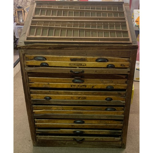 53 - Antique Industrial Printers Cabinet Letterpress Type With 17 Drawers.