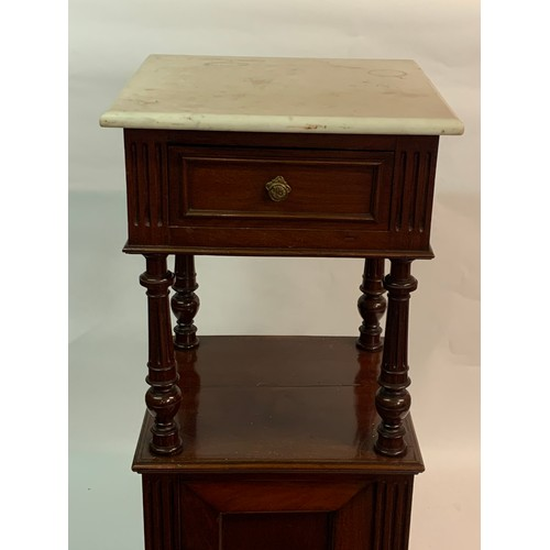 58 - French Marble Top Pot Cupboard / Night Stand. 41 x 41 x 92 cms
