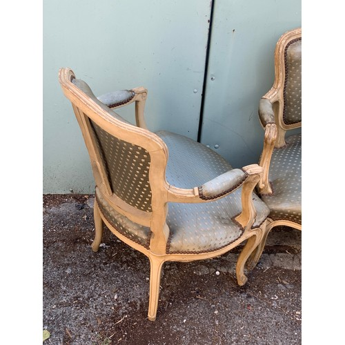5a - Pair Of Vintage Painted French Arm Chairs.