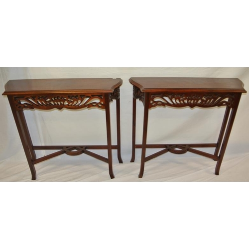 17 - Pair of Edwardian design side tables with pierced shaped friezes, shaped legs with stretchers...