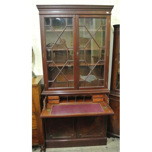 35 - Edwardian mahogany secretaire bookcase with astragal glazed doors, shelving, pull-out secretaire wit...