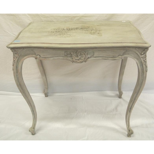 66 - Louis VIX style painted occasional table with serpentine borders and cabriole leg...