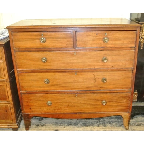 110 - Victorian mahogany chest of two short and three long drawers with circular brass drop handles and es...