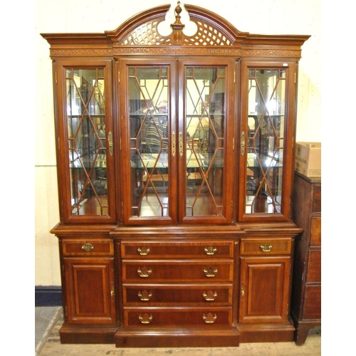 170 - Modern mahogany breakfront display cabinet with arched frieze, astragal glazed doors, shelving, draw...