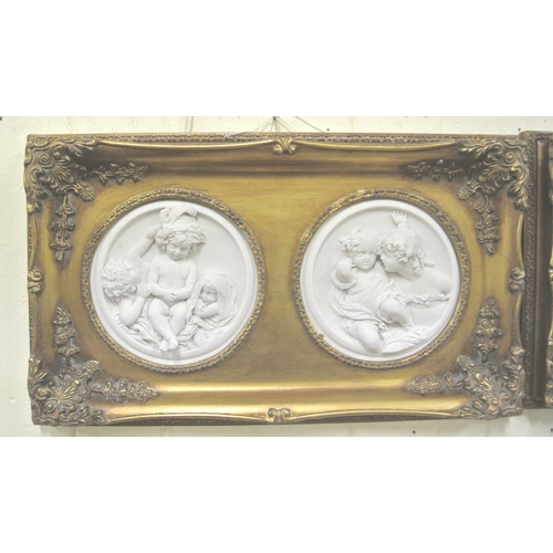222 - Gilt framed double wall plaque with circular figure decorated plaques with coins inset verso...