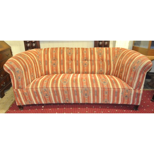 248 - Georgian style couch with button back upholstery and bracket feet...