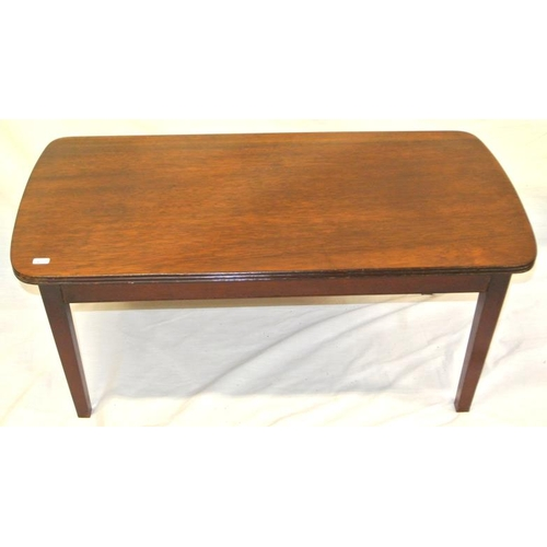 1 - Edwardian design oblong mahogany coffee table with reeded borders and tapering legs...