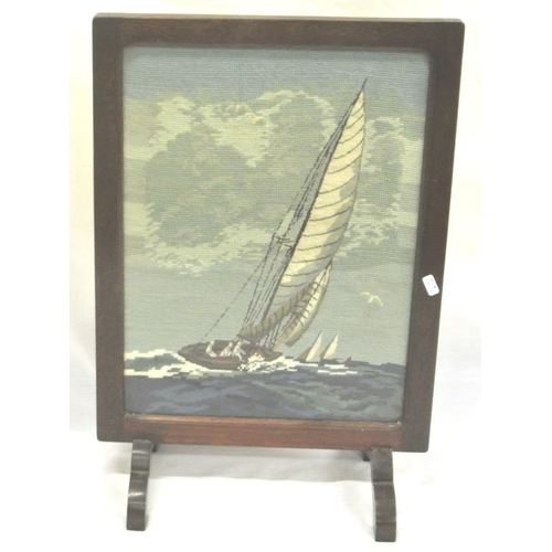 2 - Edwardian style firescreen with Yachting needlework...