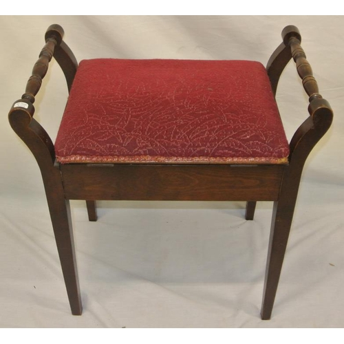 3 - Edwardian piano stool with lift-up lid and turned rail...