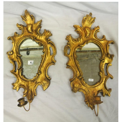 4 - Pair of French style girandole wall mirrors with scroll decoration and candle sconces...