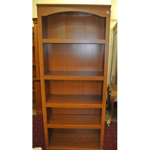 6 - Set of 3 American bookshelves with shelving and presses under...