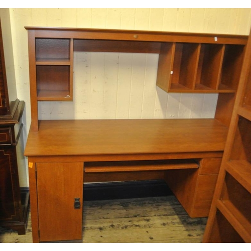 7 - American office desk with pigeon holes and pull out shelving, file cabinet and press...