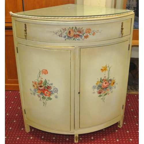 8 - French style painted bowfronted corner press with shelved interior...