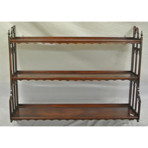 11 - Edwardian mahogany 3-tier wall shelf with fretwork...