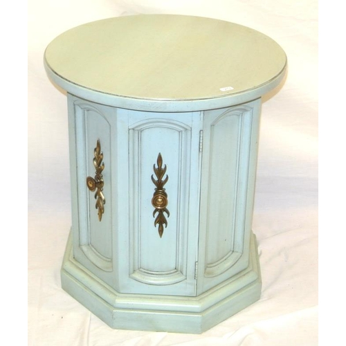 12 - French style circular painted cabinet with shelved interior on hexagonal base...