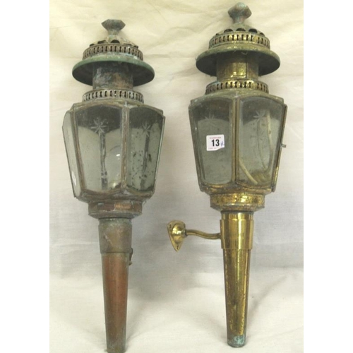 13 - Pair of Victorian style brass carriage lights, converted...