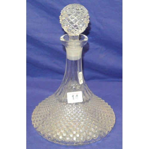 14 - Crystal cut glass ships decanter with hobnail cut and stopper...