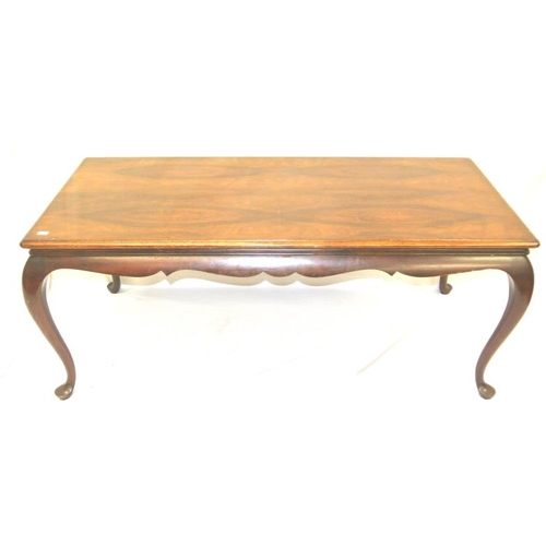 31 - Edwardian style walnut oblong occasional table with cabriole legs...