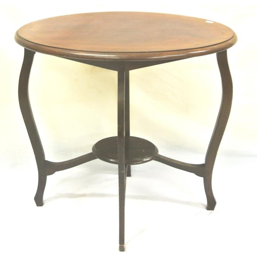 36 - Edwardian inlaid mahogany oval occasional table on cabriole legs...