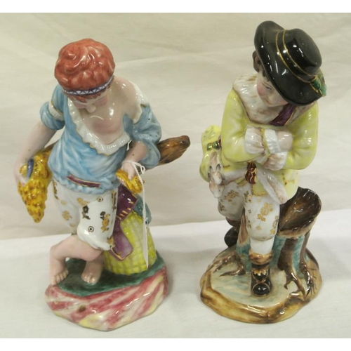 38 - Pair of Dresden style figures of children on shaped bases...