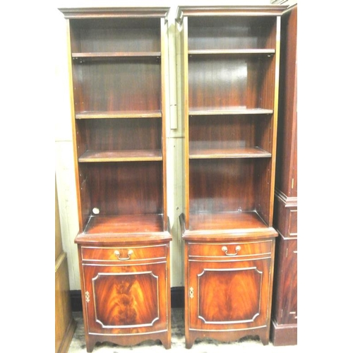 45 - Pair of Edwardian design mahogany open bookshelves, with bow fronted frieze drawers with presses und...