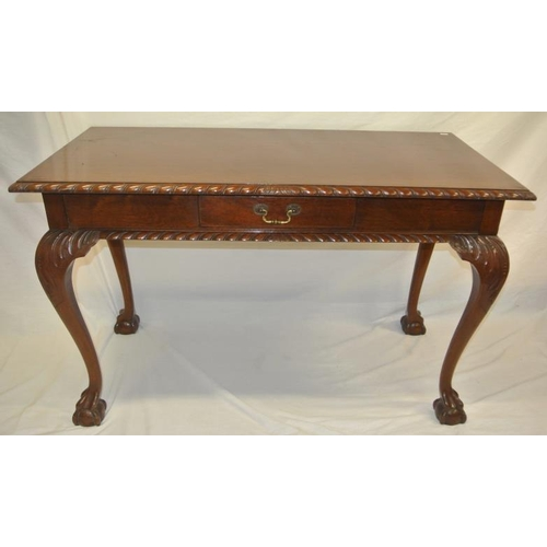 46 - Victorian design mahogany hall or side table with carved borders, frieze drawer with brass drop hand...