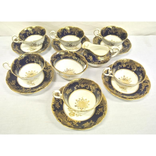 48 - 14 piece Aynsley coffee service with ornate gilt and foliate decoration...