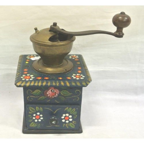 53 - Unusual copper coffee grinder with painted base...