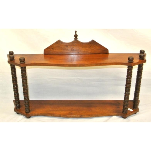 54 - Edwardian mahogany serpentine fronted wall shelf with ball columns...